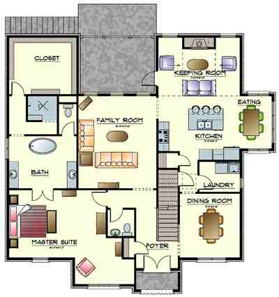 The berkley w keeping room ridgecrest homes for House plans with keeping rooms